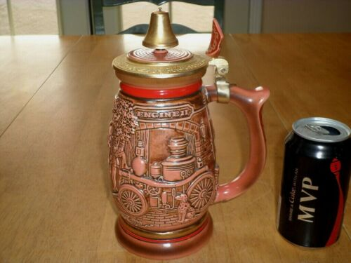 FIRE DEPARTMENT - FIRE FIGHTERS, [3-D IMAGES] Ceramic Beer Stein / Mug, #1989 yr