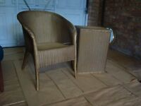 Lloyd Loom chair and matching linen basket