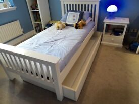 White Company Classic Kids Single Bed with pull out Truckle and bedside Table
