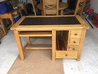 Solid Oak Desk with Computer Slot & Keyboard Shelf