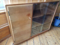 VINTAGE MID CENTURY GPLAN DANISH STYLE CASTLE FURNITURE CABINET BOOKCASE & GLASS DOOR WILL DELIVERS