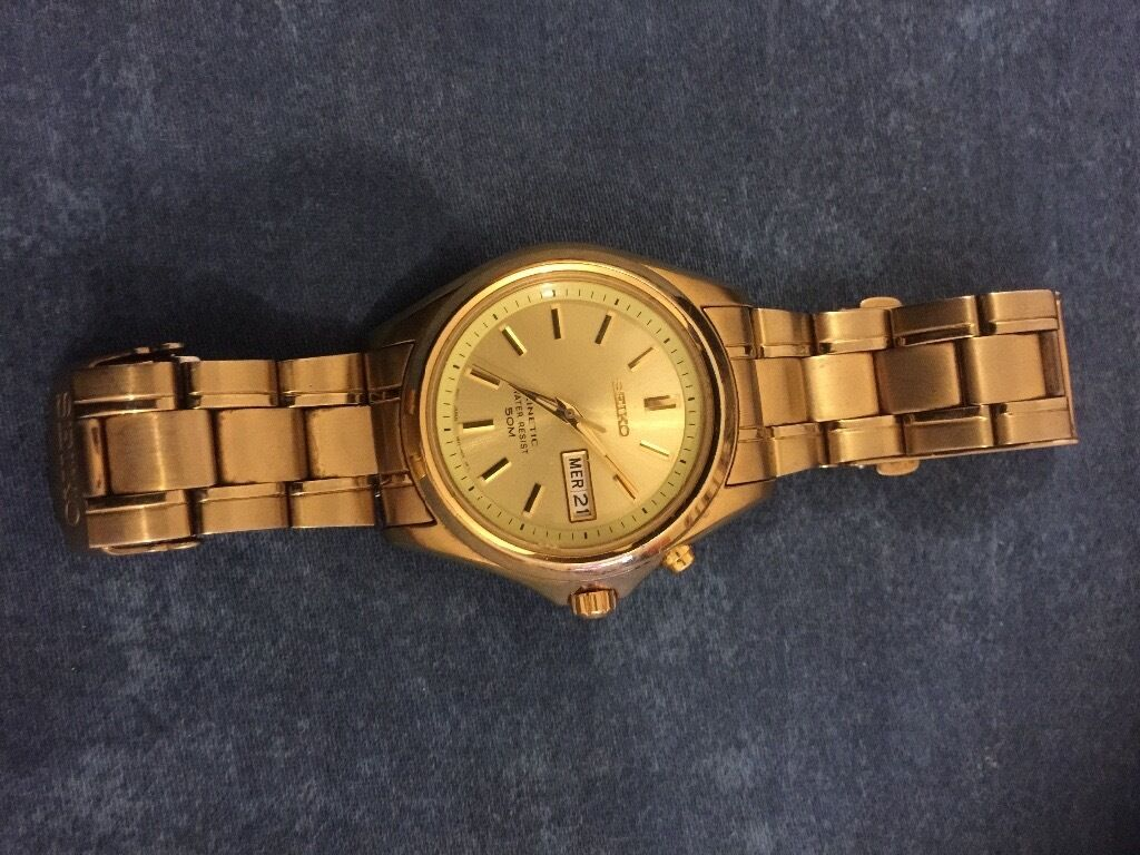 Seiko kinetic watch gold platedin CaerphillyGumtree - Seiko kinetic watch Good working No need battery charger Kinetic charge Gold plated Water resistend Call 07807868447