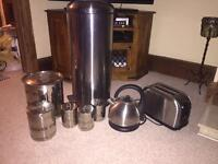 Used condition stainless steel kitchen items and microwave