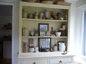 SHABBY CHIC CREAM-PAINTED OLD DRESSER WITH OR WITHOUT GLASS DOORS