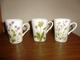 Lovely set of 3 floral design mugs by Royal Kendal, VGC
