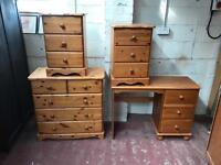 Selection of pine bedroom furniture