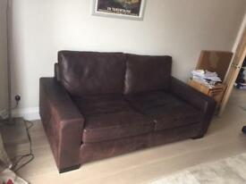 Loungin' Brown Leather Sofa