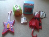 childrens dishwasher, umbrella, guitar, toy phone, and pet carrier bundle