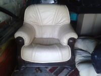 Real leather cream armchair on wooden frame