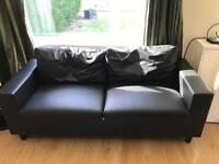 Black leather sofas 3,2,1 seater