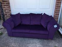 Beautiful Anita Aubergine fabric sofa with built in bed. New never used.