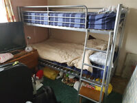 METAL BUNK BED WITH MATTRESSES - SILVER