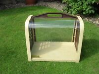 ROMA Small Pet Carrier, Brown, Cream & Clear Plastic with Integrated Handle & Doors at both Ends
