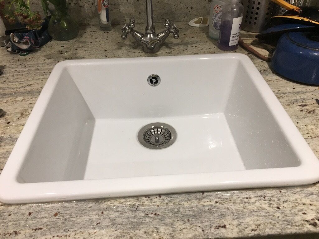 White Ikea kitchen sink DOMSJÖ 53 x 45 cm Used but in good condition