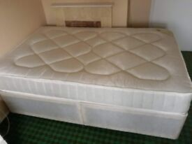 Small [4ft] Double Bed for Sale - headboard and cover included - slept on only once
