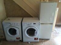 2 washing machines and 1 fridge freezer all working