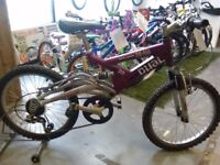 GIRLS RALEIGH DUAL 20:DS BIKE 20 INCH WHEELS 6 SPEED FULL SUSPENSION ALLOY GOOD CONDITION CHRISTMAS