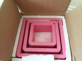 A lovely set of pink 3 wall racks shelves++ideal for girl's bedroom++£10