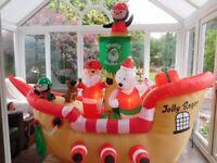 Jolly Roger Santa Pirate Inflatable Ship