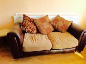 2seater DFS sofa bed ( leather and fabric)