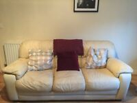 3 piece,cream leather suite