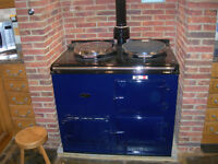 A two oven natural gas fired AGA in dark blue.