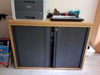 Tambour Cupboard Grey and Beech with Sliding Doors