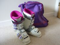 LADIES NORDICA SKI BOOTS, SIZE 5 AND BAG