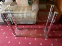 Tall glass tv stand