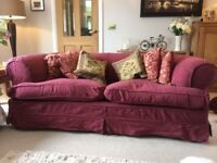 FREE - 3 Seater deep red Heals Sofa - good condition and comfortable