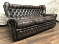 Antique Brown Chesterfield Monks Sofa