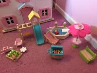 Wooden outside dolls house accessories