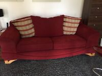 2 seater and 3 seater red and gold sofa