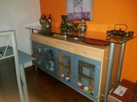 Beautiful sideboard with glass doors drawers & internal light.