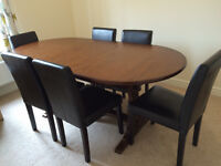 Extendable Solid Wood Dining Table and 6 Chairs