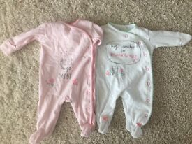 x2 next baby girl sleepsuits mummy and daddy upto 1 month