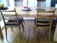 Pair of ladder back vintage vinyl chairs