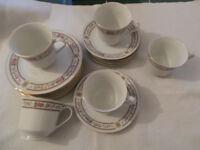 VINTAGE CHINA TRIOS TEA CUPS SAUCERS & SIDE PLATES SET