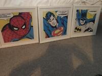 Set of three superhero pictures