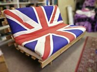 Classic IKEA Kvidinge wooden futon with Union Jack mattress (limited edition, no longer in stores)
