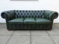 A Green Leather Chesterfield Three Seater Sofa Settee
