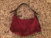 Burgundy velvet handbag