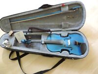 Stentor Harlequin marine blue 4/4 full size violin (with case, bow, roisin & digital tuner)