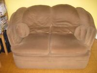 Brown veleveteen 2 seater sofa, 64x38 inches, very comfy.