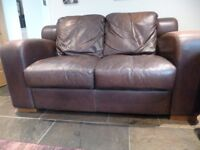 Next leather sofa, brown 'distressed' leather