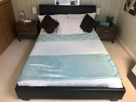 For sale - Brown Faux Leather double bed, 2 walnut bedside cabinets AND memory foam mattress