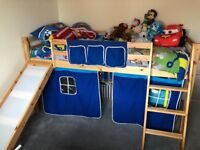 Mid sleeper cabin bed with slide