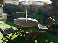 Hardwood Garden Table and Four Chairs