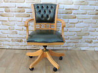 Compact quality Chesterfield leather chair Antique green (Delivery)