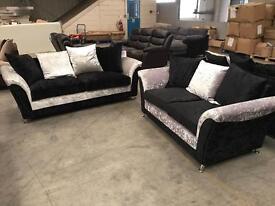Brand new silver/black genuine crushed velvet sofa suite